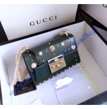 Gucci Small Padlock studded leather shoulder bag GU409487P-green