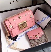Gucci Small Padlock studded leather shoulder bag GU409487P-pink