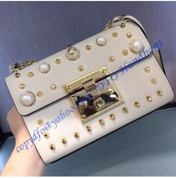 Gucci Small Padlock studded leather shoulder bag GU409487P-white