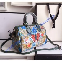 deb0512fe24 Gucci GG Supreme top handle bag with embroideries and green leather trim