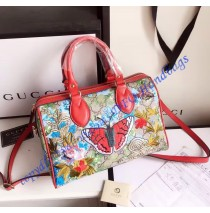 Gucci GG Supreme top handle bag with embroideries and red leather trim