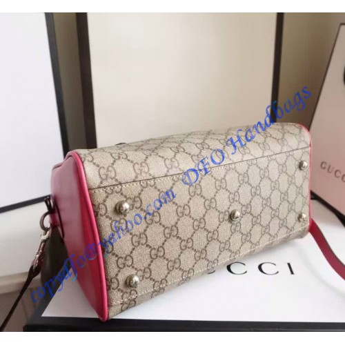 Gucci Gg Supreme Top Handle Bag With Red And Pink Leather