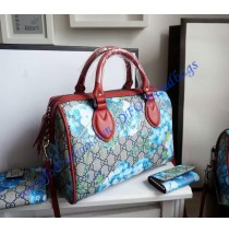 Gucci GG Blue Blooms top handle bag with red leather trim