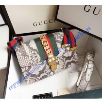 Gucci Sylvie Snake Shoulder Bag Gray
