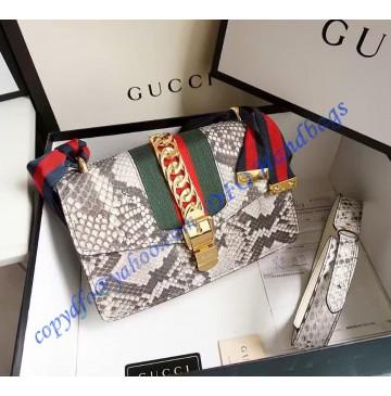 Gucci Sylvie Snake Shoulder Bag Gray