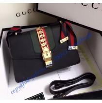 Gucci Sylvie Leather Shoulder Bag Black