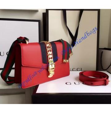 Gucci Sylvie Leather Shoulder Bag Red