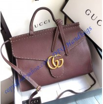 Gucci Small GG Marmont Leather Top Handle GU421890-brown