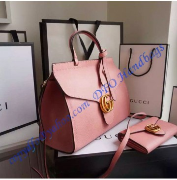 Gucci Small GG Marmont Leather Top Handle GU421890-pink