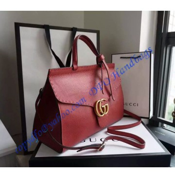 Gucci Small GG Marmont Leather Top Handle GU421890-red