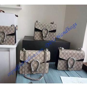Gucci Dionysus GG Supreme Mini Shoulder Bag with Black Suede Detail