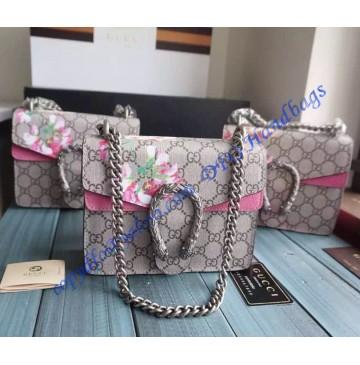 Gucci Dionysus Blooms Print Mini Shoulder Bag with Pink Suede Detail