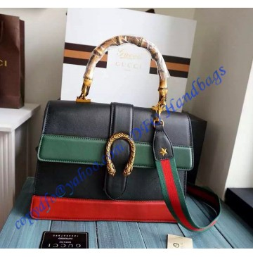 Gucci Dionysus Leather Top Handle Bag GU421999-Black-Green-Red