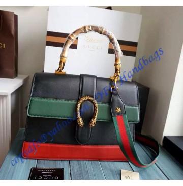 Gucci Dionysus Leather Top Handle Bag GU421999-Black-Green-Red