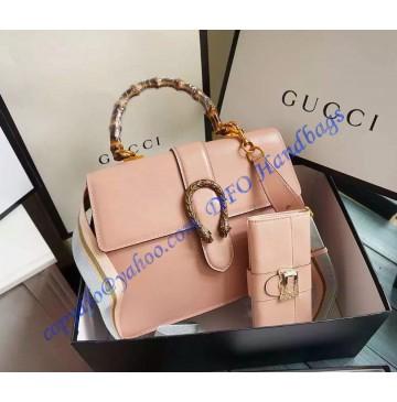 Gucci Dionysus Leather Top Handle Bag GU421999-Pink