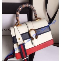 Gucci Dionysus Leather Top Handle Bag GU421999-White-Black-Red