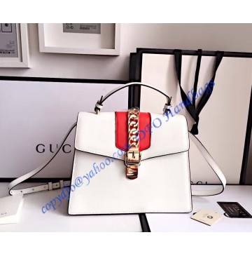 Gucci Sylvie leather top handle bag GU431665-white