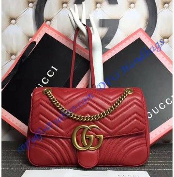 Gucci Medium GG Marmont Matelasse Shoulder Bag Red