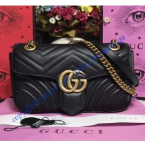Gucci Small GG Marmont Matelasse Shoulder Bag Black