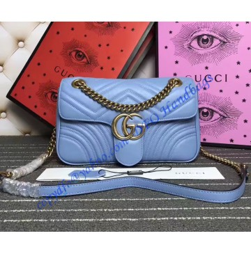 Gucci Small GG Marmont Matelasse Shoulder Bag Light Blue