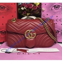 Gucci Small GG Marmont Matelasse Shoulder Bag Red