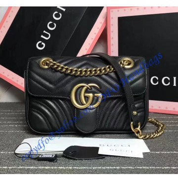Gucci Mini GG Marmont Matelasse Shoulder Bag Black