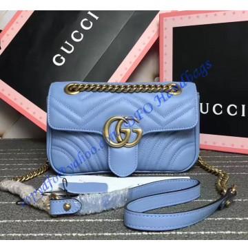 Gucci Mini GG Marmont Matelasse Shoulder Bag Light Blue