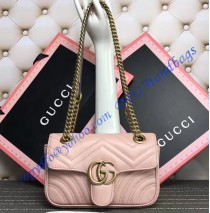 Gucci Mini GG Marmont Matelasse Shoulder Bag Pink