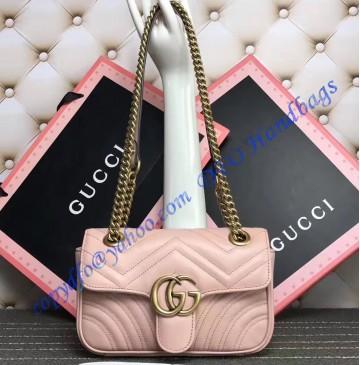 Gucci Mini GG Marmont Matelasse Shoulder Bag Pink