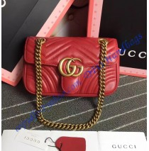 Gucci Mini GG Marmont Matelasse Shoulder Bag Red
