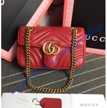 Gucci Mini GG Marmont Matelasse Shoulder Bag Red