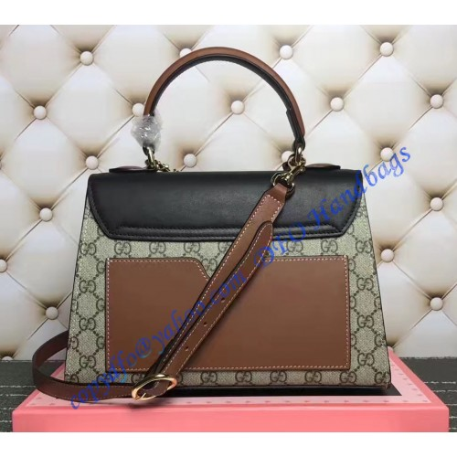 6a8876f88 Gucci Padlock GG Supreme Top Handle Bag with Black and Brown Leather