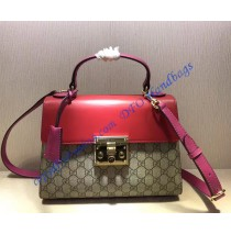 Gucci Padlock GG Supreme Top Handle Bag with Red and Pink Leather