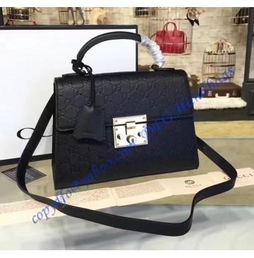 Gucci Padlock Black Signature Leather Top Handle Bag
