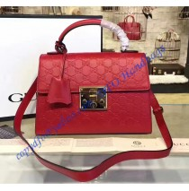 Gucci Padlock Red Signature Leather Top Handle Bag
