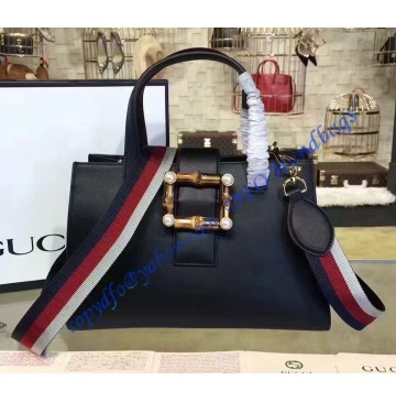 Gucci Black Leather Bamboo Buckle Tote Bag