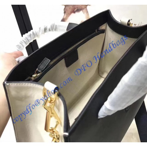 gucci black and white leather bamboo buckle tote bag