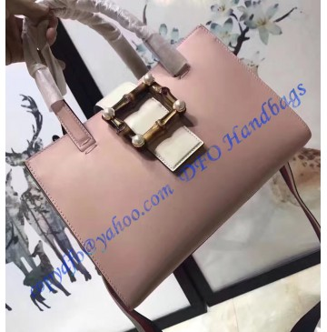 Gucci Pink and White Leather Bamboo Buckle Tote Bag