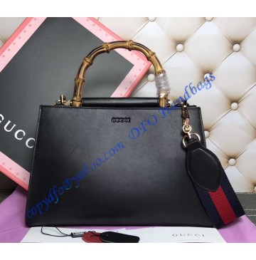 Gucci Nymphaea Leather Top Handle Bag Black