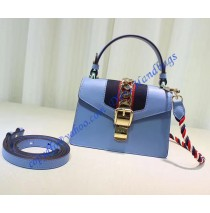 Gucci Sylvie Blue Leather Mini Bag