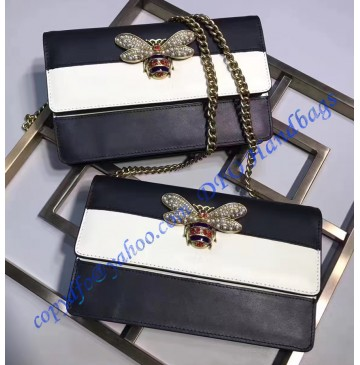 Gucci Queen Margaret Leather Mini Bag White Black