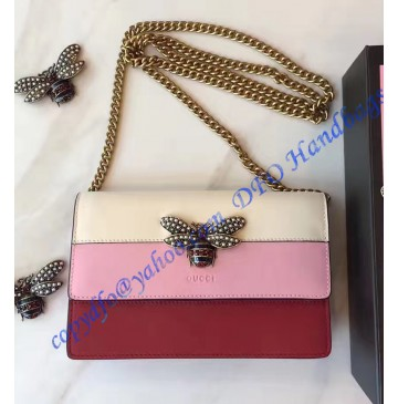 Gucci Queen Margaret Leather Mini Bag White Pink Red