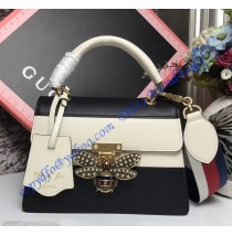 Gucci Queen Margaret Multicolor Leather Top Handle Bag White Black