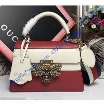 Gucci Queen Margaret Multicolor Leather Top Handle Bag White Red