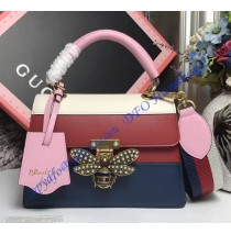 Gucci Queen Margaret Multicolor Leather Top Handle Bag White Red Blue