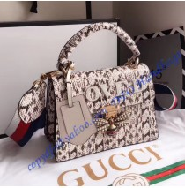 Gucci Queen Margaret Snakeskin Top Handle Bag Gray