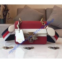 Gucci Queen Margaret Multicolor Leather Bag Red White