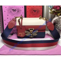 Gucci Queen Margaret Multicolor Leather Bag White Red Blue