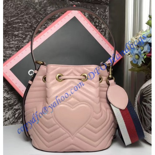 Gucci Gg Marmont Quilted Leather Bucket Bag Pink