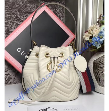 Gucci GG Marmont Quilted Leather Bucket Bag White